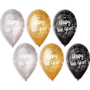 БАЛОНИ HAPPY NEW YEAR ЗЛАТНИ, СРЕБЪРНИ И ЧЕРНИ